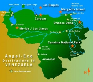 Angel Eco Destinations in Venezuela Map 300x265 Destinations