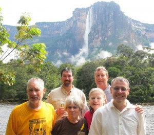Larry and Kitch Eitzen (Freshwater), Karen Angel (Eureka), Alan Mason (Eureka), Steve Allen (Eureka), Steve Davidson (Bayside) with the Churún River and Angel Falls in the background. Photo Credit: Paul Stanley, 3 July 2012